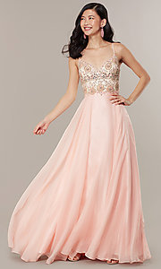 Image of embellished-bodice formal long chiffon prom dress. Style: DJ-489-B Front Image