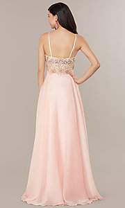Image of embellished-bodice formal long chiffon prom dress. Style: DJ-489-B Back Image