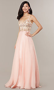 Image of embellished-bodice formal long chiffon prom dress. Style: DJ-489-B Detail Image 3