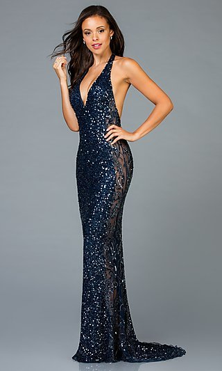 Long V-Neck Sequin Prom Dress with a Short Train
