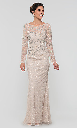 Biscotti Nude Long Formal MOB Gown