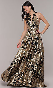 Image of high-neck long black prom dress with gold sequins. Style: PO-8332 Front Image