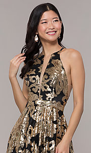 Image of high-neck long black prom dress with gold sequins. Style: PO-8332 Detail Image 1