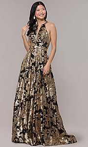 Image of high-neck long black prom dress with gold sequins. Style: PO-8332 Detail Image 3