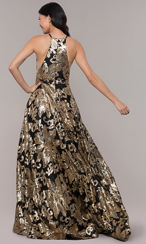 Image of high-neck long black prom dress with gold sequins. Style: PO-8332 Back Image