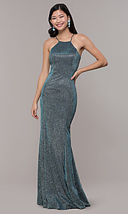 Image of metallic-glitter long prom dress with back cut out. Style: PO-8386 Front Image