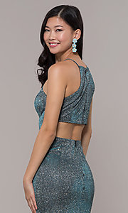 Image of metallic-glitter long prom dress with back cut out. Style: PO-8386 Detail Image 2