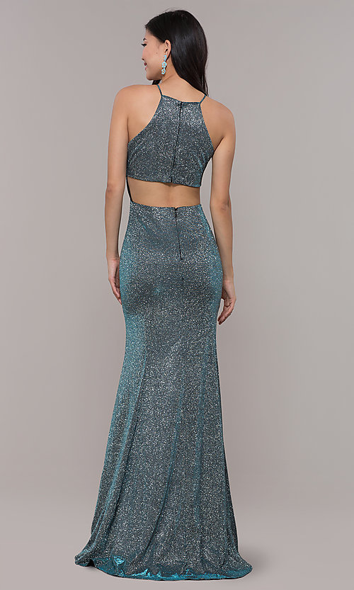 Image of metallic-glitter long prom dress with back cut out. Style: PO-8386 Back Image