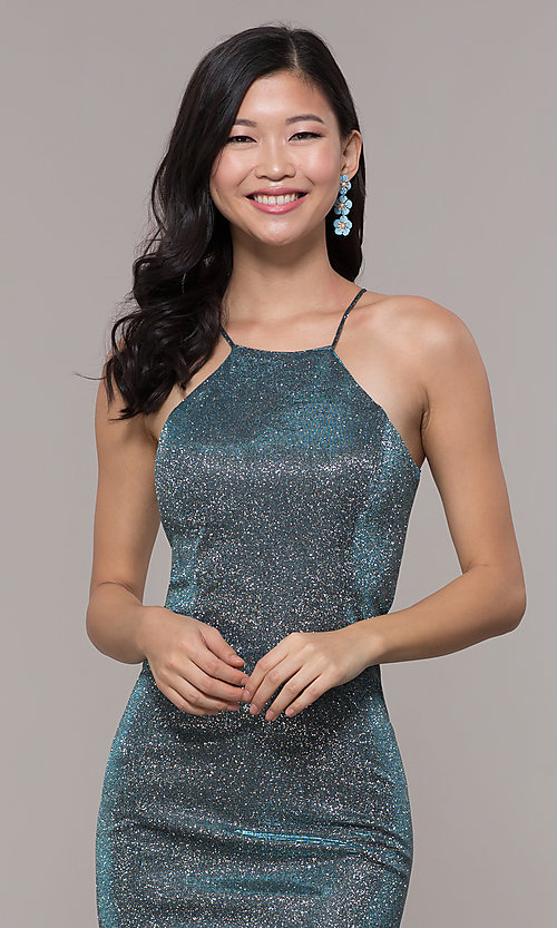 Image of metallic-glitter long prom dress with back cut out. Style: PO-8386 Detail Image 1