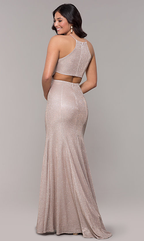 Image of metallic-glitter long prom dress with back cut out. Style: PO-8386 Detail Image 4