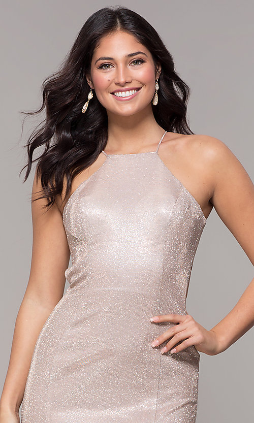 Image of metallic-glitter long prom dress with back cut out. Style: PO-8386 Detail Image 5