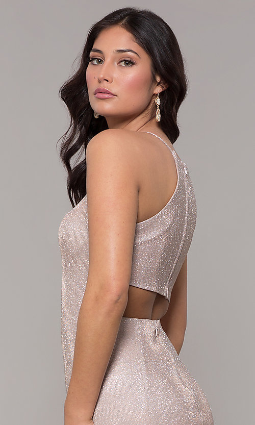 Image of metallic-glitter long prom dress with back cut out. Style: PO-8386 Detail Image 6