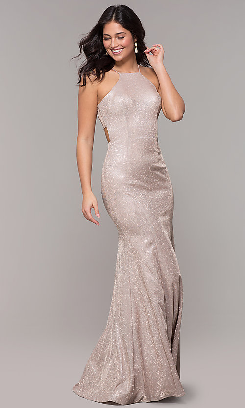 Image of metallic-glitter long prom dress with back cut out. Style: PO-8386 Detail Image 3
