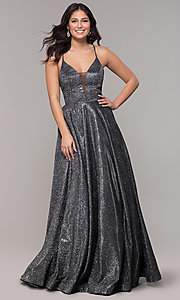 Image of ball-gown-style metallic-glitter long prom dress. Style: PO-8470 Detail Image 6