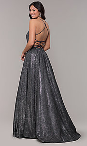 Image of ball-gown-style metallic-glitter long prom dress. Style: PO-8470 Detail Image 7