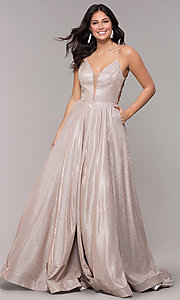 Image of ball-gown-style metallic-glitter long prom dress. Style: PO-8470 Front Image