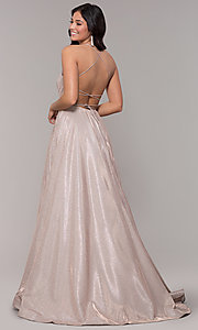 Image of ball-gown-style metallic-glitter long prom dress. Style: PO-8470 Back Image