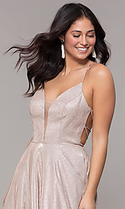Image of ball-gown-style metallic-glitter long prom dress. Style: PO-8470 Detail Image 1