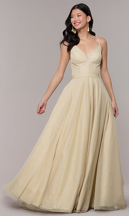 378f1f0ed Image of ball-gown-style long prom dress with open back. Style: