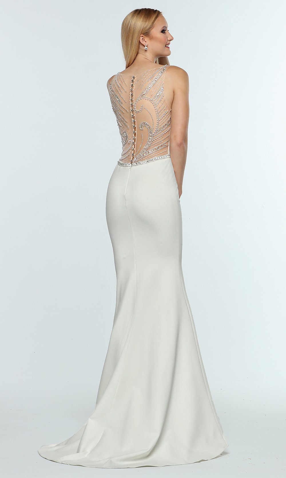 Long Zoey Grey Prom Dress with a Sheer Beaded Back