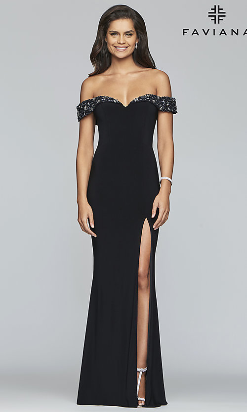Image of long Faviana prom dress with beaded neckline. Style: FA-S10202 Front Image