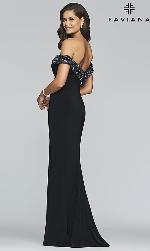 Image of long Faviana prom dress with beaded neckline. Style: FA-S10202 Back Image