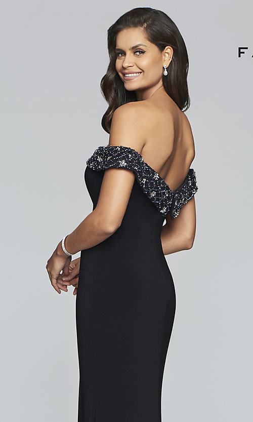 Image of long Faviana prom dress with beaded neckline. Style: FA-S10202 Detail Image 2