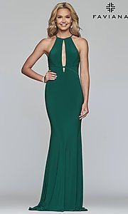 Image of long Faviana high-neck prom dress with cut outs. Style: FA-S10207 Front Image