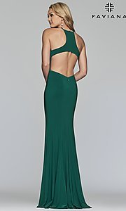 Image of long Faviana high-neck prom dress with cut outs. Style: FA-S10207 Back Image