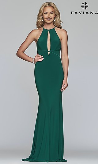 cb7a0db23d9 Long Faviana High-Neck Prom Dress with Cut-Outs