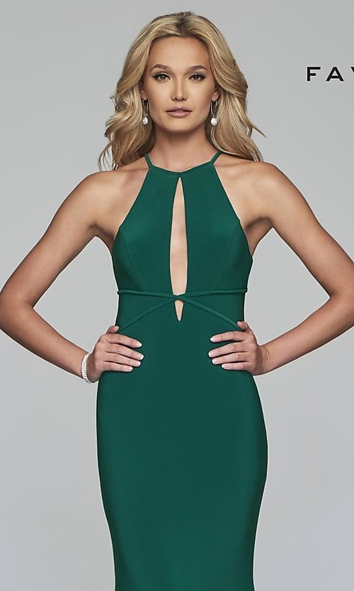 Image of long Faviana high-neck prom dress with cut outs. Style: FA-S10207 Detail Image 1
