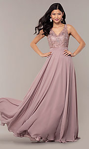 Image of v-neck lace-bodice formal dress with chiffon skirt. Style: DQ-PL-2777 Detail Image 4