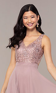 Image of v-neck lace-bodice formal dress with chiffon skirt. Style: DQ-PL-2777 Detail Image 6