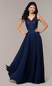 Image of v-neck lace-bodice formal dress with chiffon skirt. Style: DQ-PL-2777 Front Image