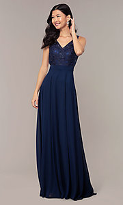 Image of v-neck lace-bodice formal dress with chiffon skirt. Style: DQ-PL-2777 Detail Image 3