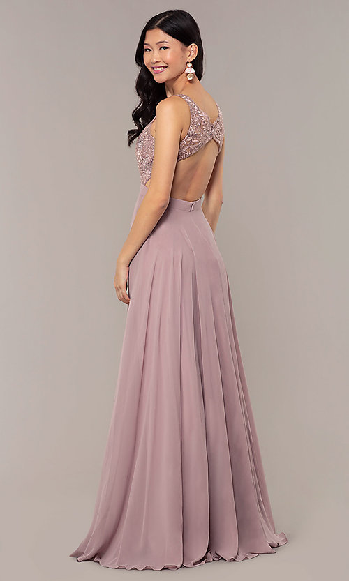 Image of v-neck lace-bodice formal dress with chiffon skirt. Style: DQ-PL-2777 Detail Image 5