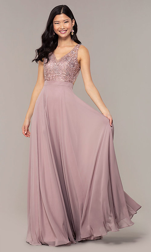 Image of v-neck lace-bodice formal dress with chiffon skirt. Style: DQ-PL-2777 Detail Image 8