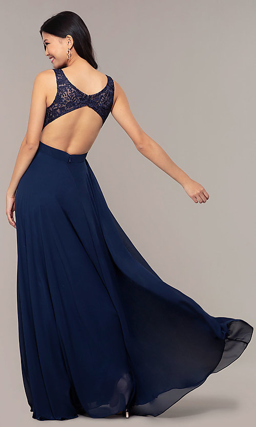 Image of v-neck lace-bodice formal dress with chiffon skirt. Style: DQ-PL-2777 Back Image