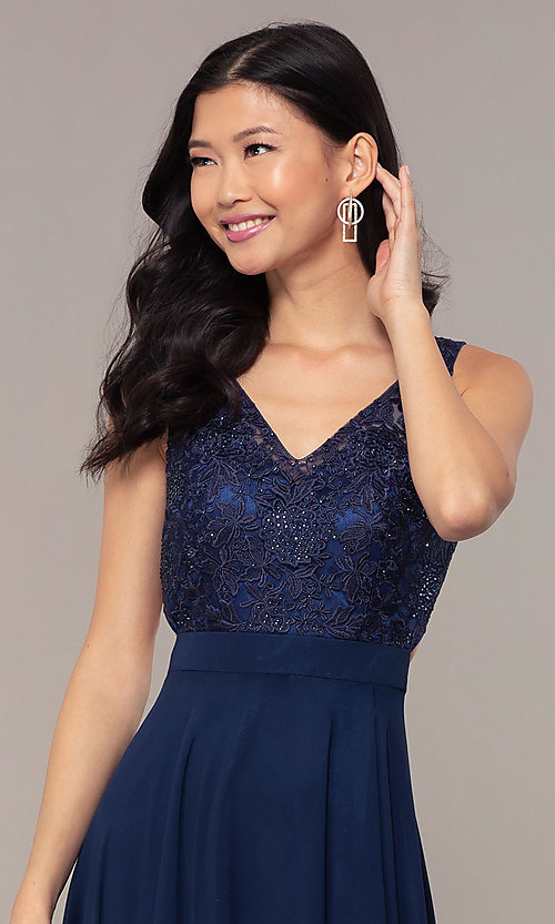Image of v-neck lace-bodice formal dress with chiffon skirt. Style: DQ-PL-2777 Detail Image 1