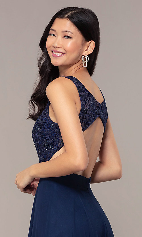 Image of v-neck lace-bodice formal dress with chiffon skirt. Style: DQ-PL-2777 Detail Image 2