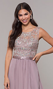 Image of chiffon mocha purple prom dress with beaded bodice. Style: DQ-PL-2810 Detail Image 1