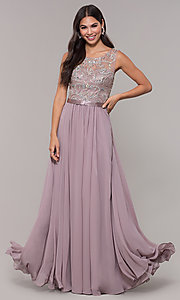 Image of chiffon mocha purple prom dress with beaded bodice. Style: DQ-PL-2810 Detail Image 3