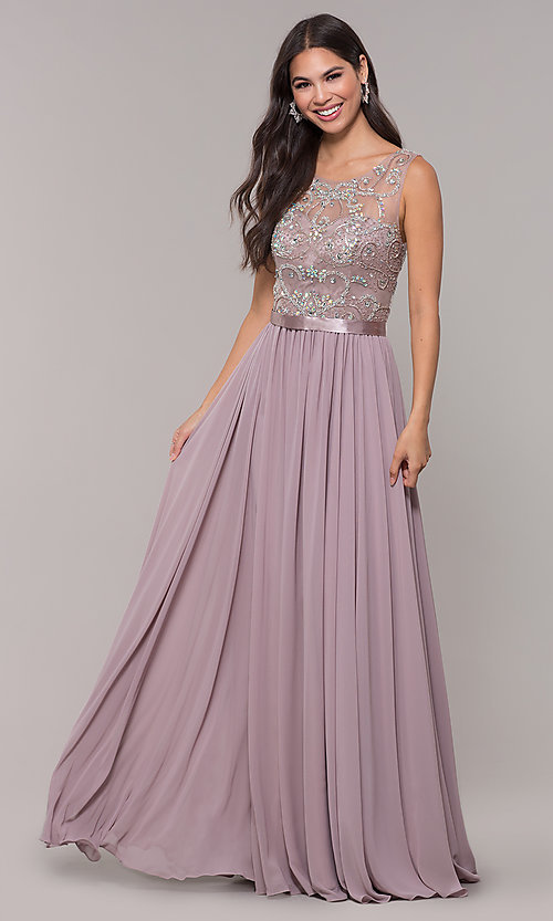 Image of chiffon mocha purple prom dress with beaded bodice. Style: DQ-PL-2810 Front Image