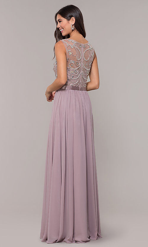 Image of chiffon mocha purple prom dress with beaded bodice. Style: DQ-PL-2810 Back Image