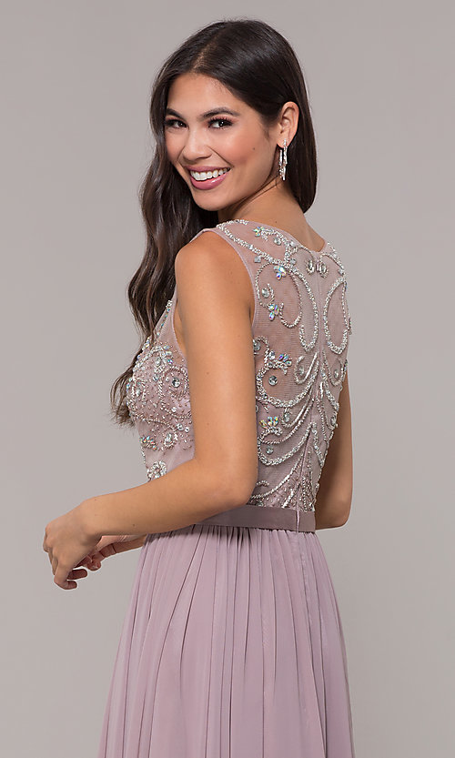 Image of chiffon mocha purple prom dress with beaded bodice. Style: DQ-PL-2810 Detail Image 2