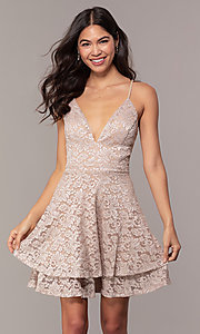 Image of tiered short lace grad party dress with sheer back. Style: EM-FQP-3473-257 Front Image