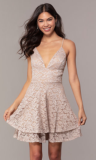 Tiered Short Lace Grad Party Dress with Sheer Back