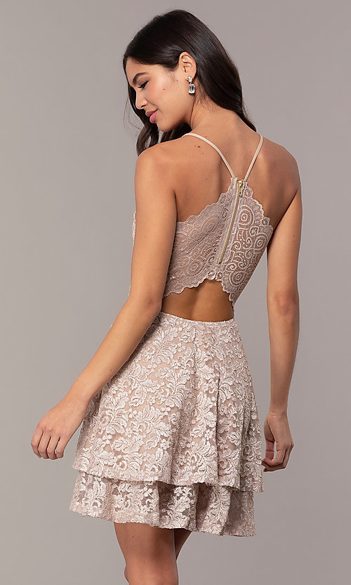 Image of tiered short lace grad party dress with sheer back. Style: EM-FQP-3473-257 Back Image