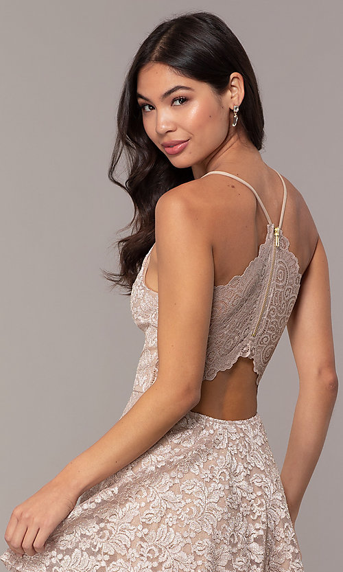 Image of tiered short lace grad party dress with sheer back. Style: EM-FQP-3473-257 Detail Image 2