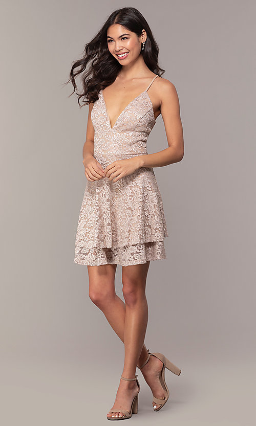 Image of tiered short lace grad party dress with sheer back. Style: EM-FQP-3473-257 Detail Image 3